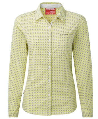 Craghoppers Womens NosiLife Olivie Long Sleeve Shirt Citronella Combo